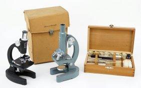 A Sans And Steiffe 600x Microscope.