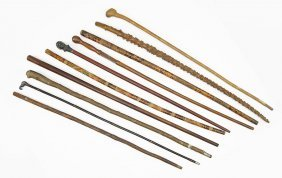 A Collection Of Ten Canes And Walking Sticks.
