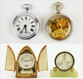 A Collection Of Miniature Clocks And Pocket Watches.