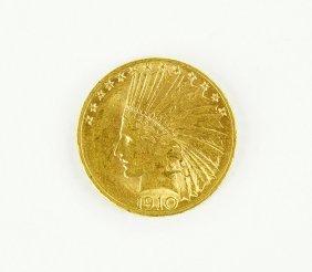 A 1910 D Indian Head Coin.