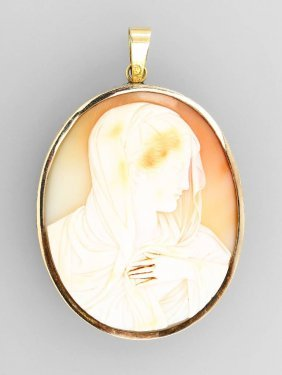 14 Kt Gold Brooch With Shell Cameo, Italy Approx.
