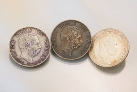 Lot 3 Silver Coins, 5 Mark, Saxony