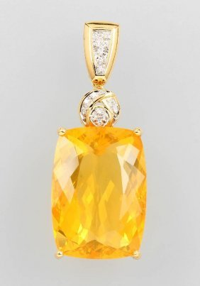 18 Kt Gold Pendant With Fire Opal And Diamonds