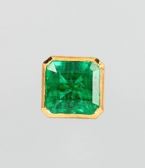 Single Earring With Emerald, Yg 917/000 And Platinum