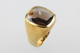 14 Kt Gold Ring With Smoky Quartz