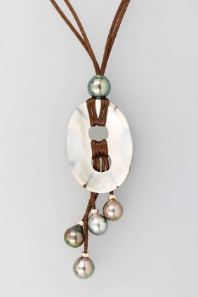 Unusual Designer Necklace With Mother Of Pearl