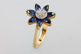 14 Kt Blossom Gold Ring With Sapphires And Diamond