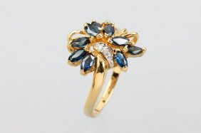 14 Kt Blossom Gold Ring With Sapphires And Diamonds