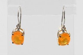 Pair Of 9 Kt Gold Earrings With Fire Opal