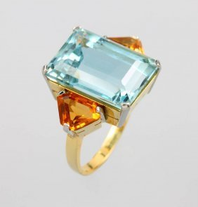 18 Kt Gold Ring With Aquamarine And Citrines
