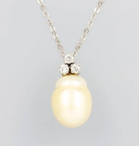 14 Kt Gold Pendant With Cultured South Sea Pearl And