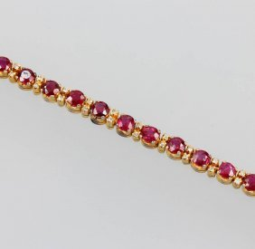 14 Kt Gold Bracelet With Rubies And Diamonds