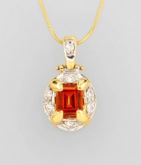 14 Kt Gold Pendant With Citrine And Brilliants