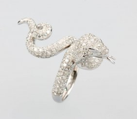 18 Kt Gold Ring 'snake' With Brilliants