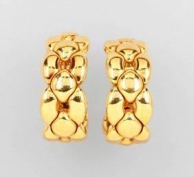 Pair Of 18 Kt Gold Cartier Half Ear Hoops