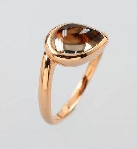 18 Kt Ring With Smoky Quartz