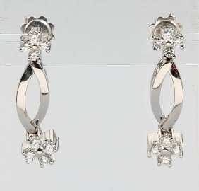 Pair Of 18 Kt Gold Earrings With Brilliants, Wg 750/000