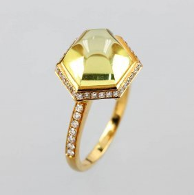 18 Kt Gold Ring With Lemoncitrine And Brilliants