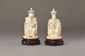Pair Of Ivory Carvings, China