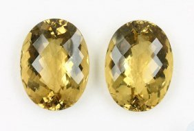 Oval Bevelled Citrine Pair, Approx. 20 X 25 Mm, Chess