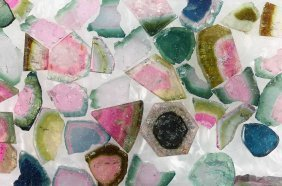 Lot With Colorful Tourmaline Discs, Total Approx