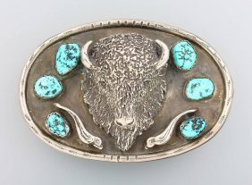 Big Belt Buckle Navajo With Turquoises, Silver