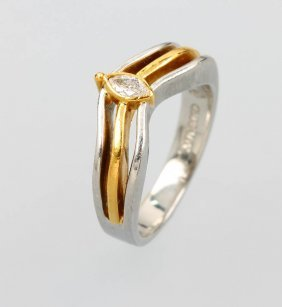 Platinum And 21 Kt Gold Cadeaux Ring With Diamond,