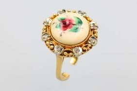 18 Kt Gold Ring With Enamel Painting And Diamonds