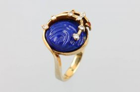 14 Kt Gold Ring With Lapis Lazuli With Diamonds