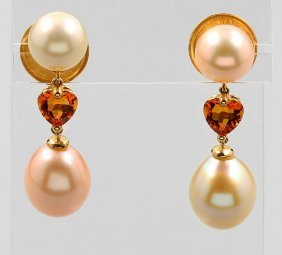 Pair Of 18 Kt Gold Earrings With Citrines And Fresh