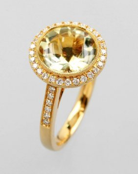 18 Kt Gold Ring With Citrine And Brilliants