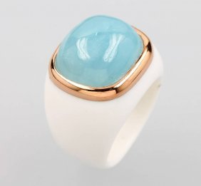 18 Kt Gold Ring Aus White Agate With Aquamarine