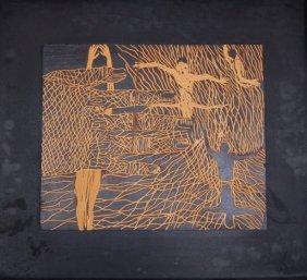 Frank Hyder (born 1951) American. Carved Wood Bas