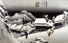 Hiroshige - Kambara, Night Snow