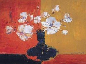 J. Tienyu - White Flowers In A Black Vase