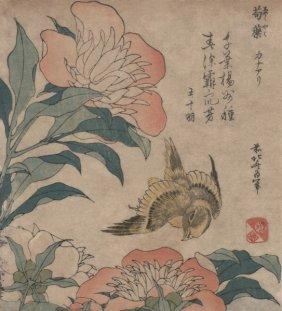 Hokusai - Peony & Canary, 1833