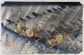 Hiroshige - Driving Rain, Shono