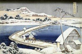 Hokusai - Pontoon Bridge At Sano, Kozuke Province,