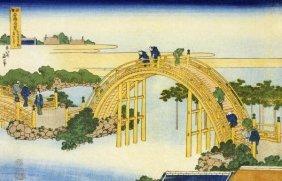 Hokusai - The Drum Bridge At Kameido Shrine