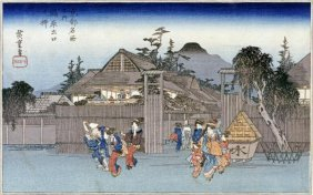 Hiroshige - Willow At The Exit Of Shimabara