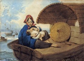 George Chinnery - A Tanka Woman With Her Child On A