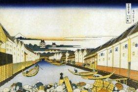Hokusai - Mount Fuji And Edo Castle Seen From