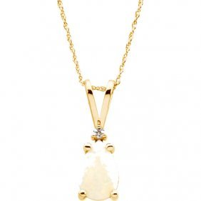 14kt Yellow Opal & Diamond 18 Necklace