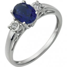14kt White Blue Sapphire & .04 Ctw Diamond Ring