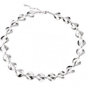 Sterling Silver Satin Wavy Coin 18-20 Necklace