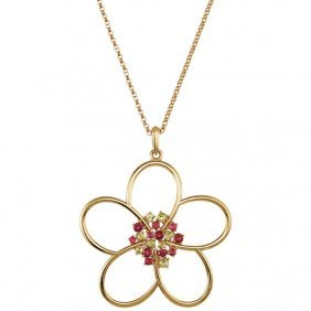 Peridot & Pink Tourmaline Floral Design Necklace Or