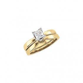 14kt Yellow 1/4 Ctw Diamond Princess Solitaire