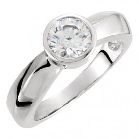 14kt White 5.2mm Solitaire Engagement Ring