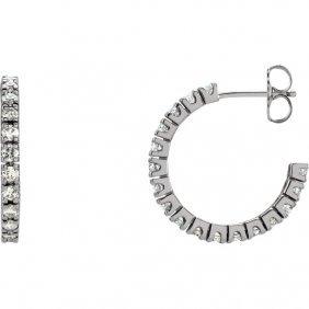 14kt White 1 Ctw Diamond Hoop Earrings