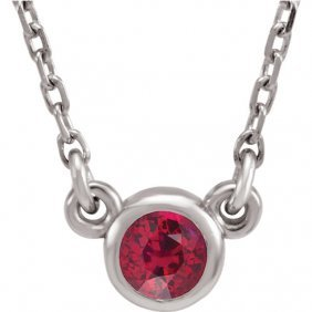 14kt White Ruby 16 Necklace